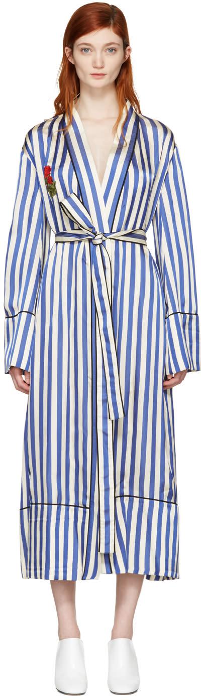 Off-white Blue Striped Pyjama Robe