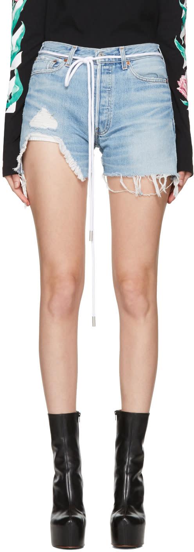 Off-white Blue Denim Super Ripped Shorts