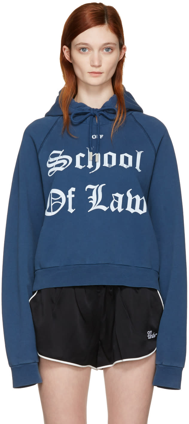 Off-white Blue diana Pleated Hoodie