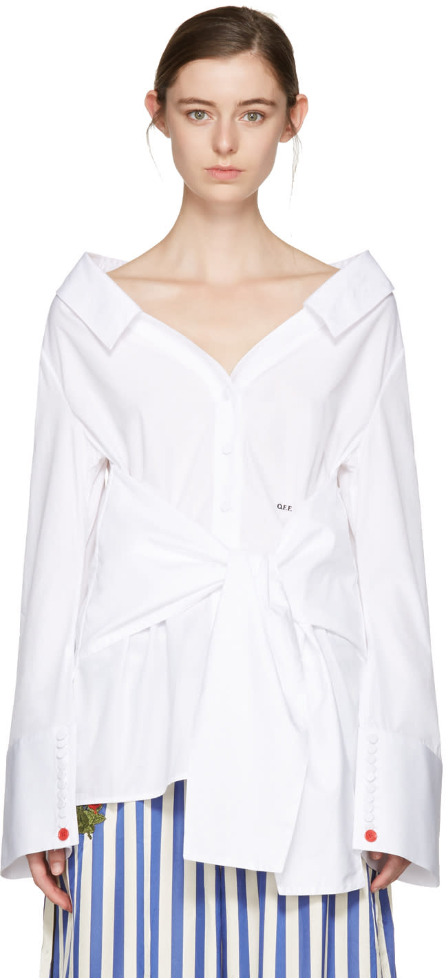 Off-white White Long Sleeve Off-the-shoulder Shirt