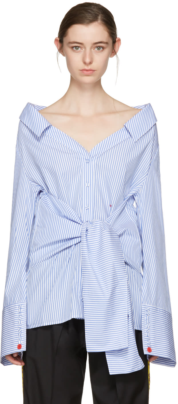 Off-white Blue Striped Long Sleeve Off-the-shoulder Shirt