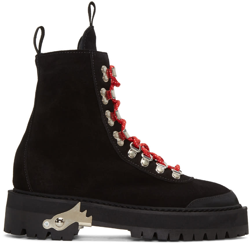 Off-white Black Suede Hiking Boots