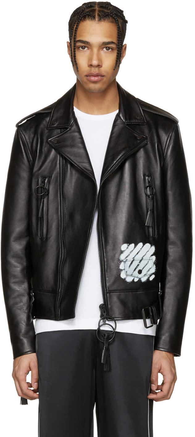 Off-white Black Leather Diagonal Carryover Biker Jacket
