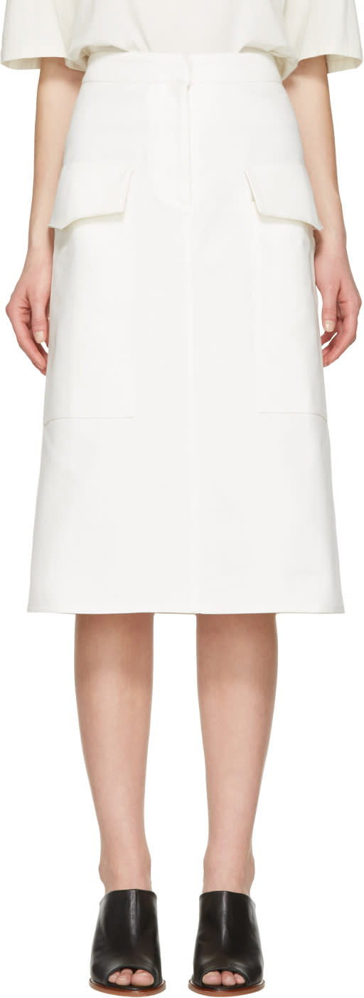 Studio Nicholson Ivory Twill Severine Skirt