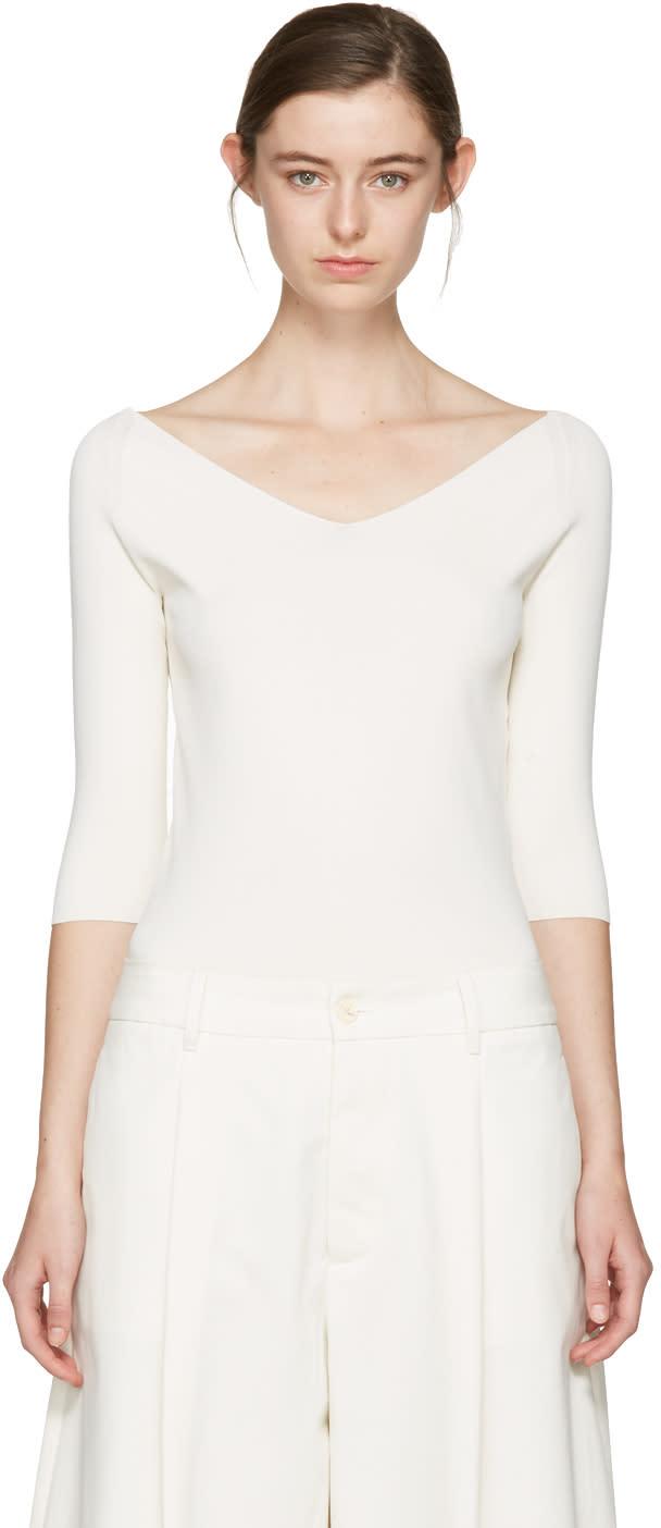 Studio Nicholson Ivory Off-the-shoulder Pullover