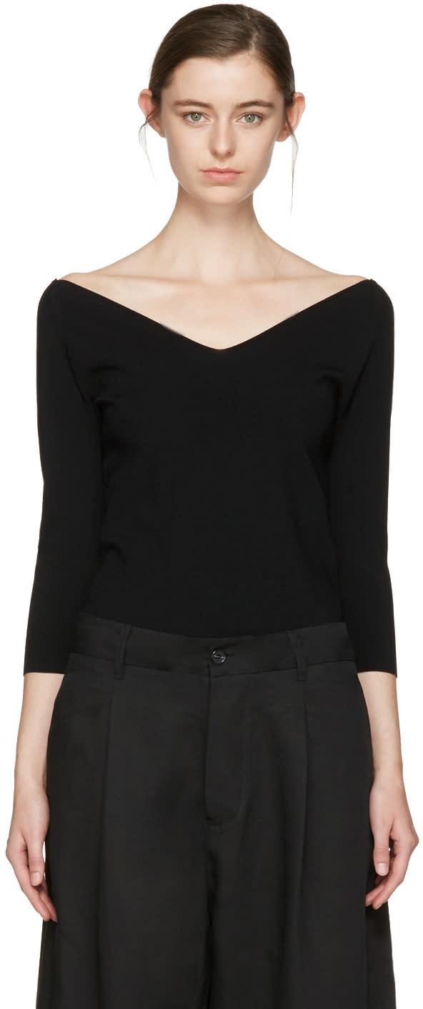 Studio Nicholson Black Off-the-shoulder Pullover