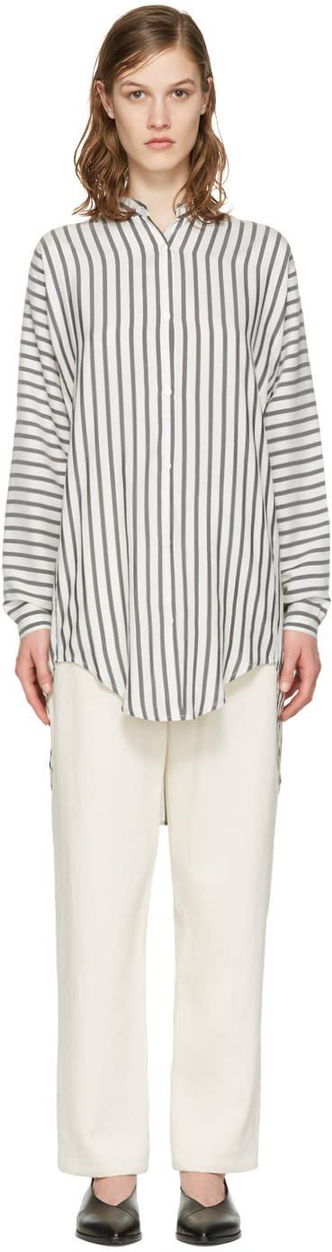 Studio Nicholson White Striped Silk Teddy Shirt