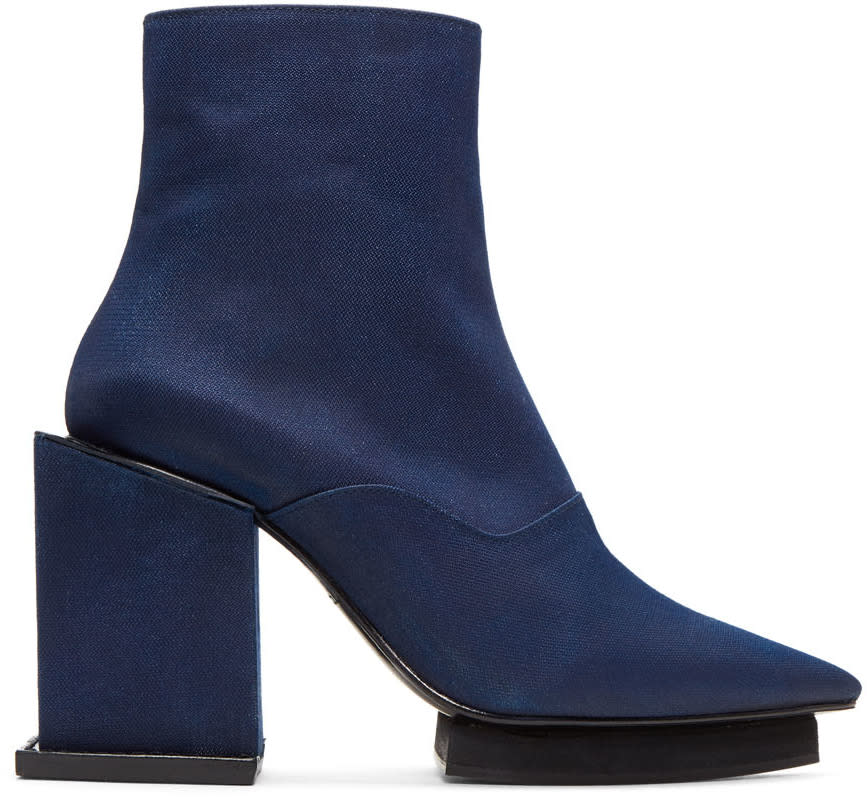 Toga Navy Satin Cube Boots