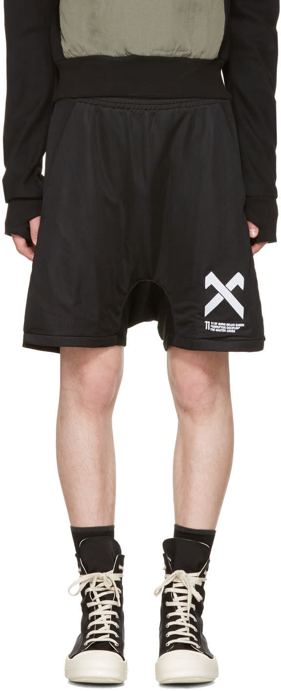 11 By Boris Bidjan Saberi Black Logo Shorts