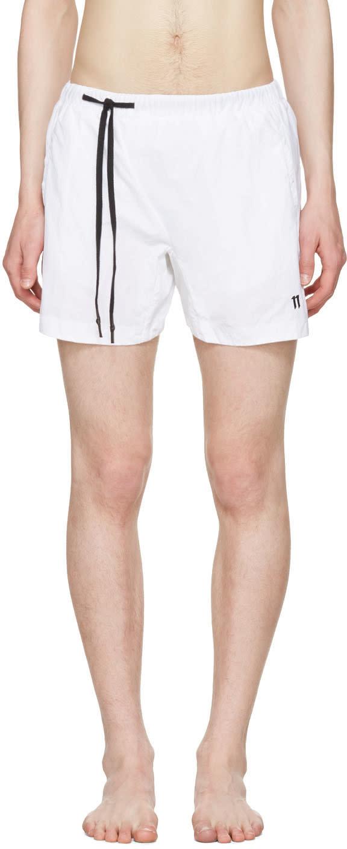 11 By Boris Bidjan Saberi White Nylon Swim Shorts