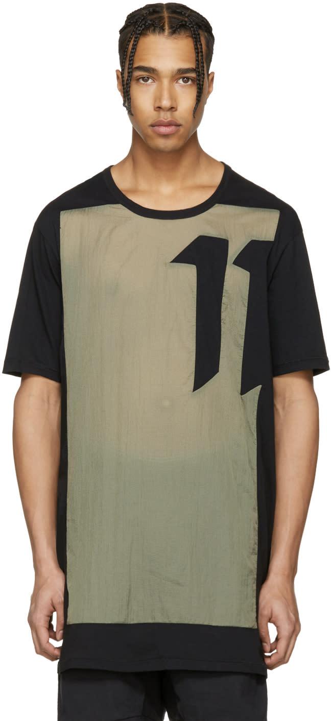 Image of 11 By Boris Bidjan Saberi Black and Green Block Cut T-shirt