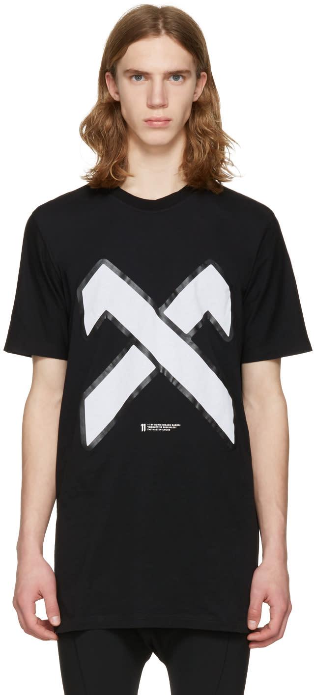 11 By Boris Bidjan Saberi Black Cross Logo T-shirt