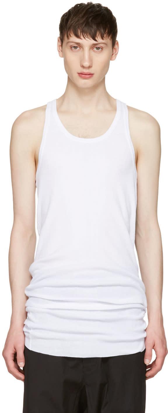 11 By Boris Bidjan Saberi White Slim Logo Tank Top