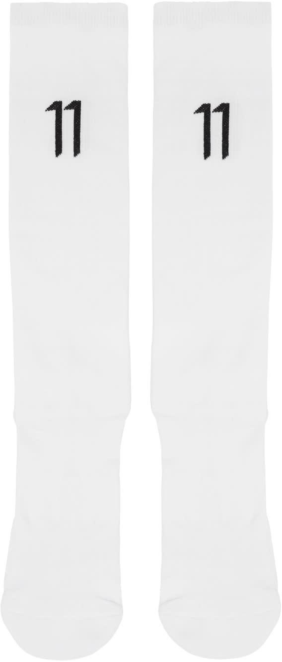 11 By Boris Bidjan Saberi White Classic Sport Logo Socks