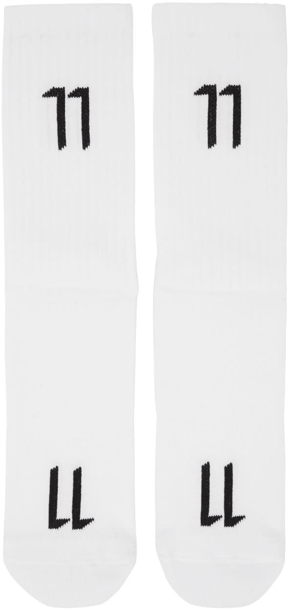 11 By Boris Bidjan Saberi White Logo Socks