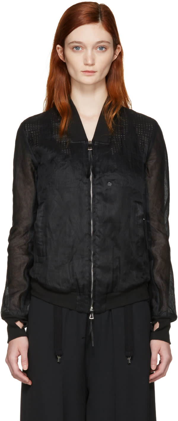 Image of Boris Bidjan Saberi Black Cotton Bomber Jacket