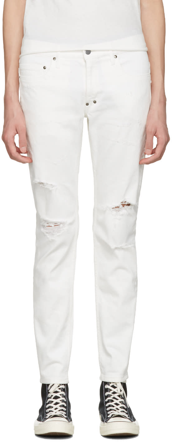 Diet Butcher Slim Skin White Damaged Skinny Jeans