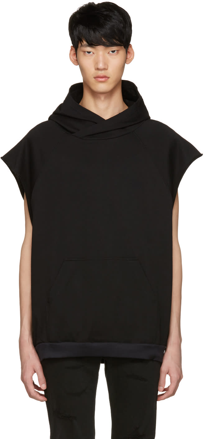 Diet Butcher Slim Skin Black Oversized Sleeveless Hoodie