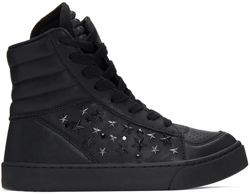 Diet Butcher Slim Skin Black Tilt Star Twisted High-top Sneakers