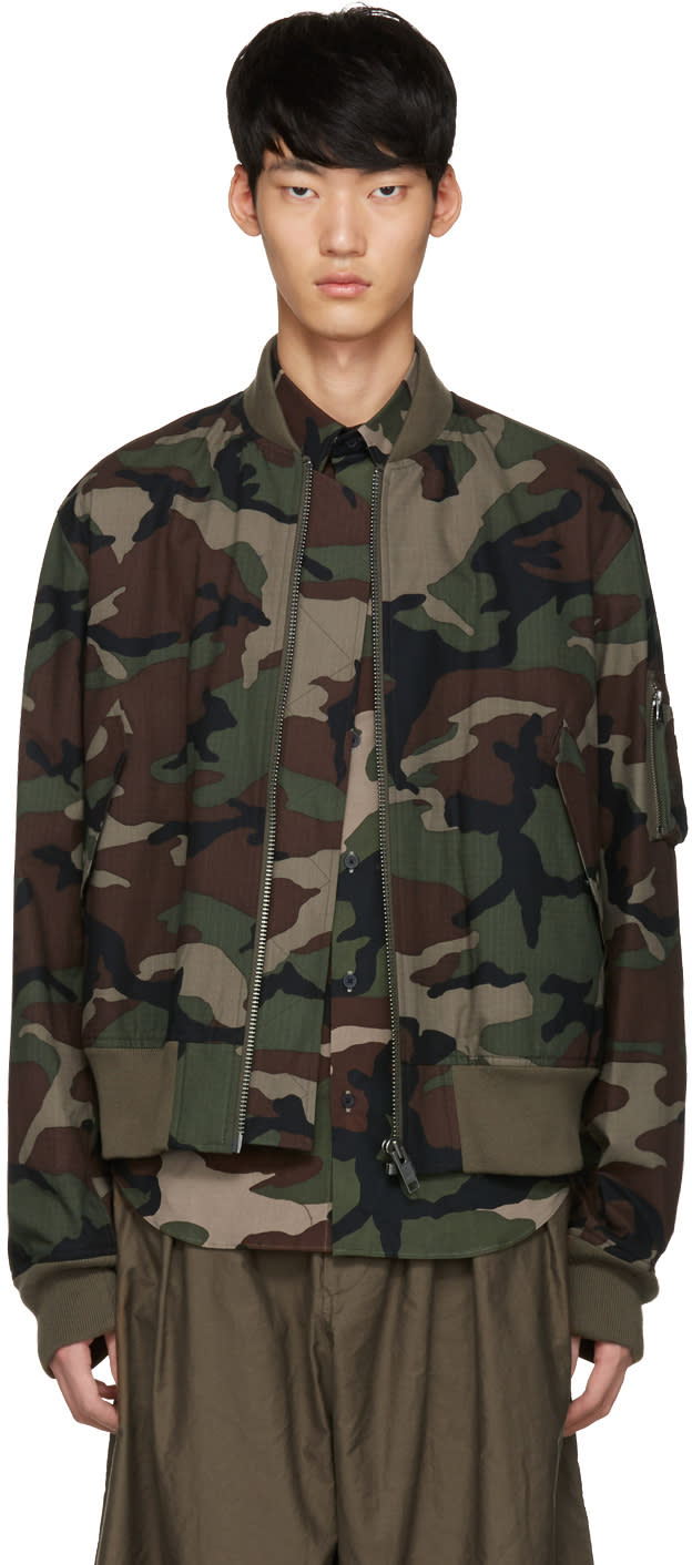 Johnlawrencesullivan Khaki Camo Bomber Jacket