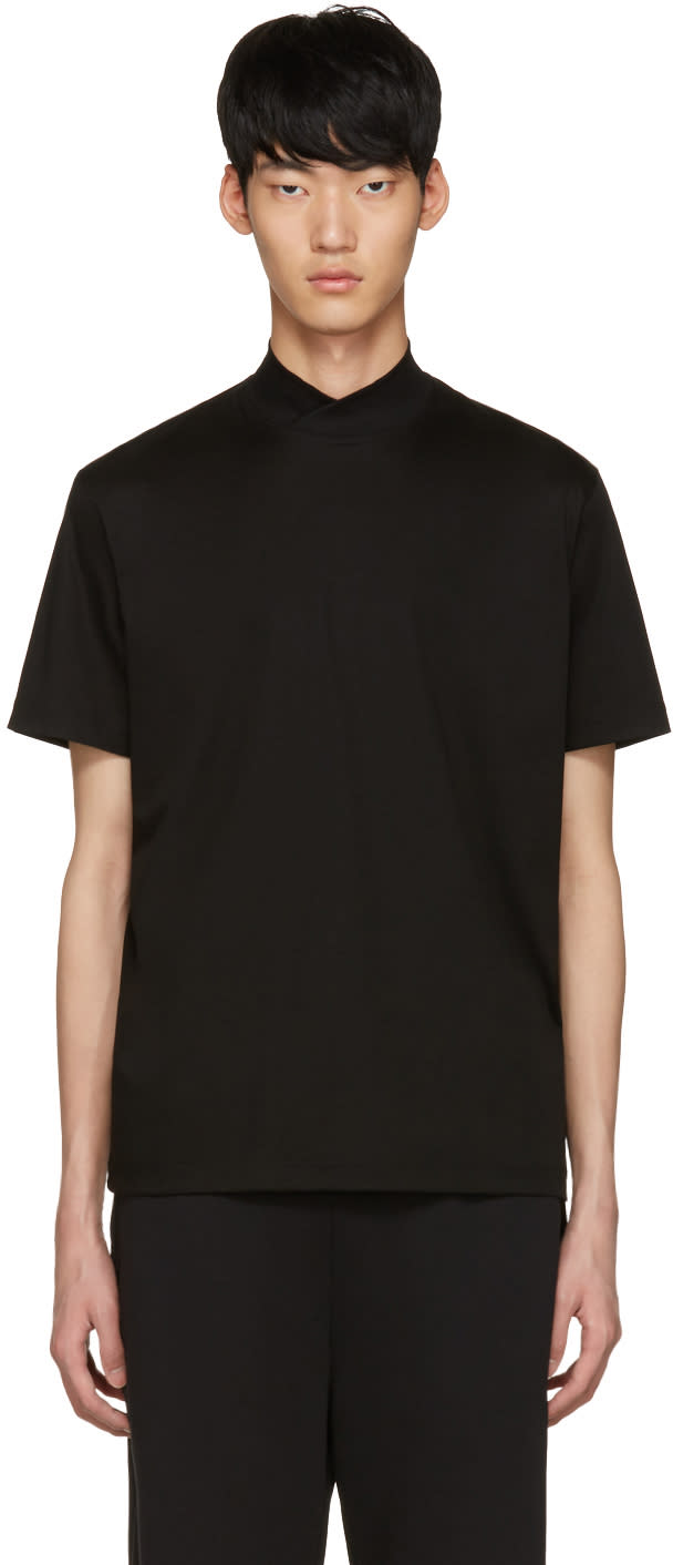 Johnlawrencesullivan Black Mock Neck T-shirt