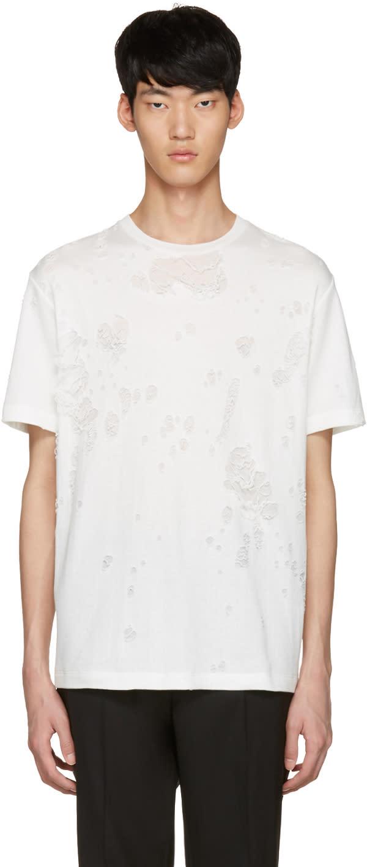 Johnlawrencesullivan White Destroyed T-shirt
