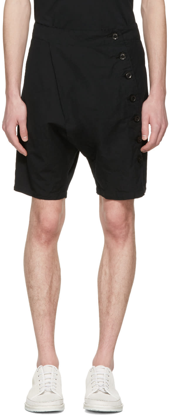 Image of Nude:mm Black Side Button Shorts