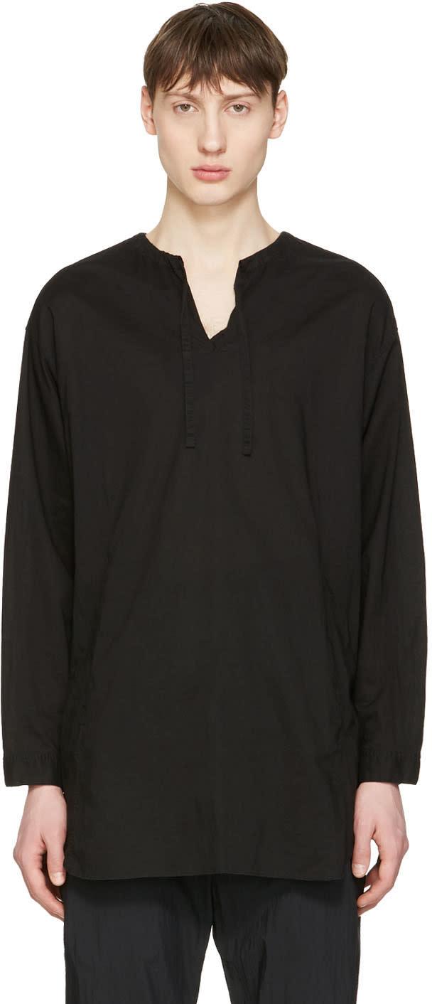 Undecorated Man Black Drawstring Collar Shirt
