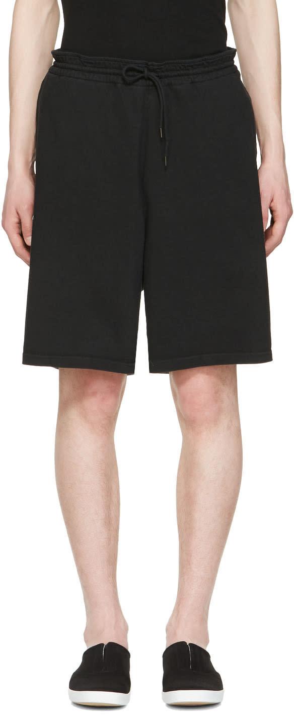 Undecorated Man Black Drawstring Lounge Shorts