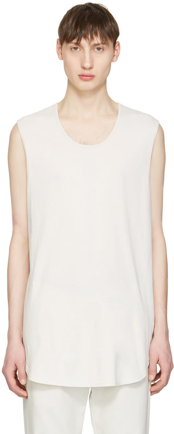Undecorated Man Grey Cotton Tank Top