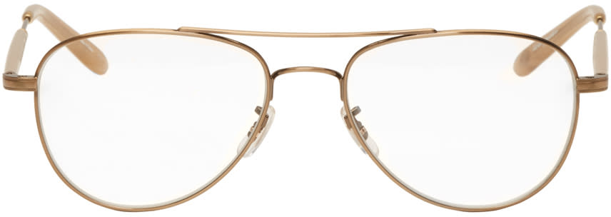 Garrett Leight Gold Linnie Aviator Glasses