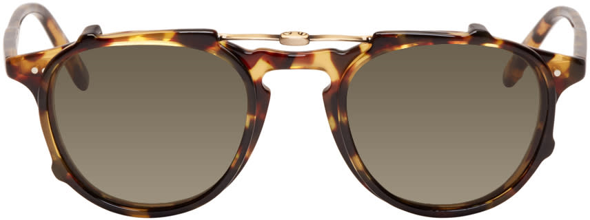 Garrett Leight Tortoiseshell Hampton Clip-on Sunglasses
