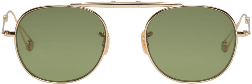 Garrett Leight Gold Van Buren Aviator Sunglasses