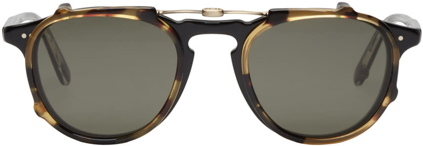 Garrett Leight Black and Tortoiseshell Clip-on Hampton Glasses