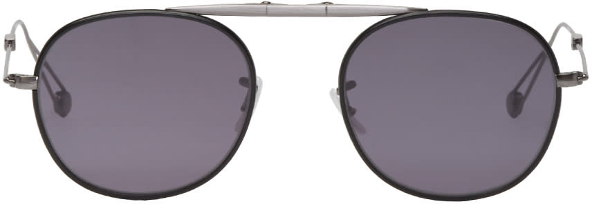 Garrett Leight Grey and Black Folding Van Buren Sunglasses