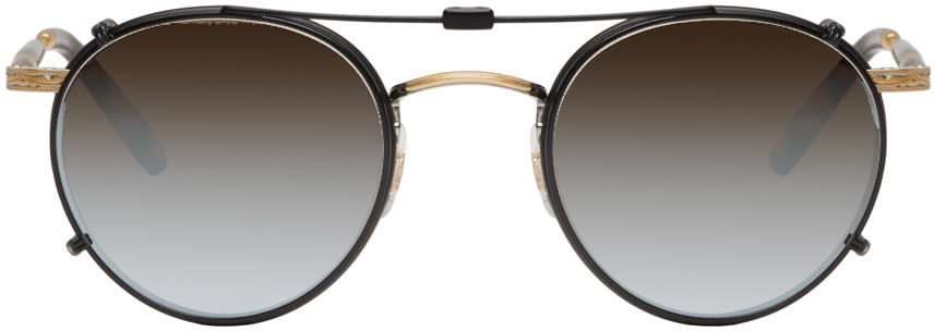 Garrett Leight Black Clip-on Wilson Sunglasses