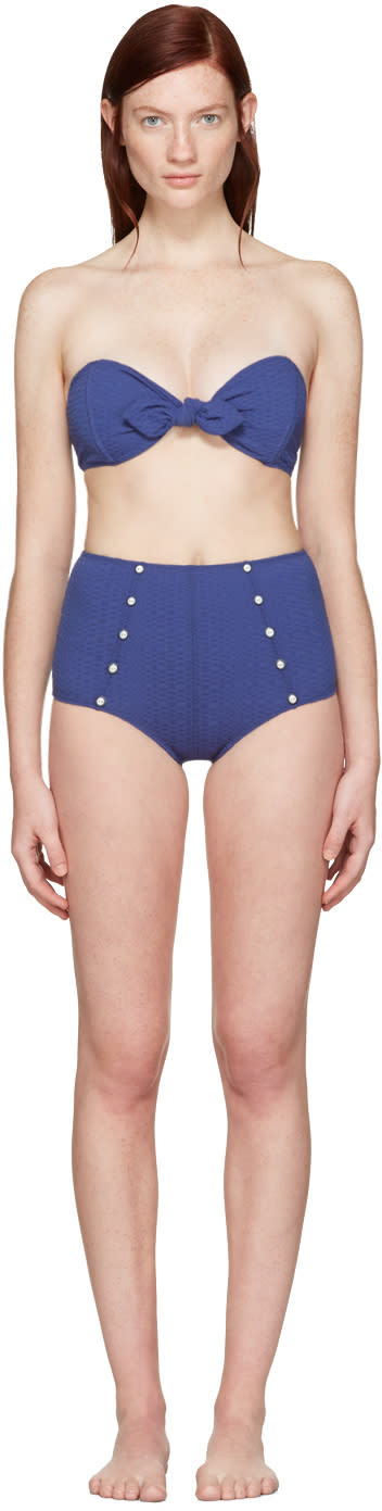 Lisa Marie Fernandez Navy Poppy Button Bikini