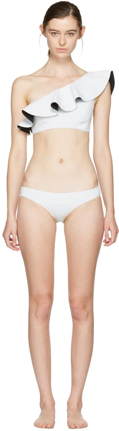 Lisa Marie Fernandez White Arden Flounce Bikini
