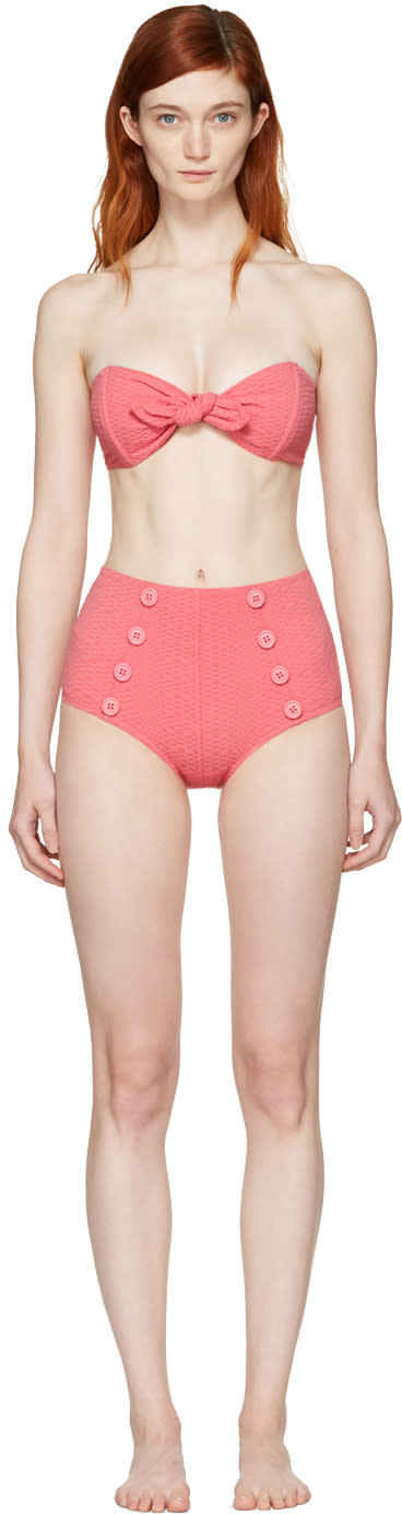 Lisa Marie Fernandez Pink Poppy High-waisted Bikini