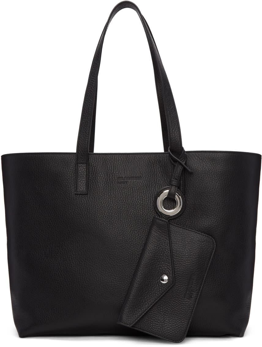 Jil Sander Navy Black Leather Tote Bag