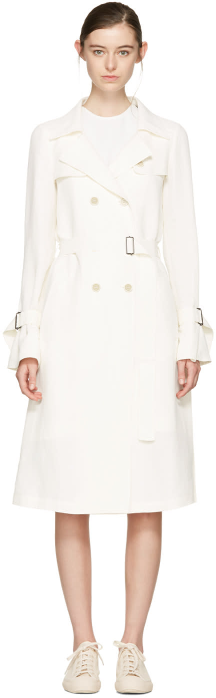 Jil Sander Navy White Belted Trench Coat