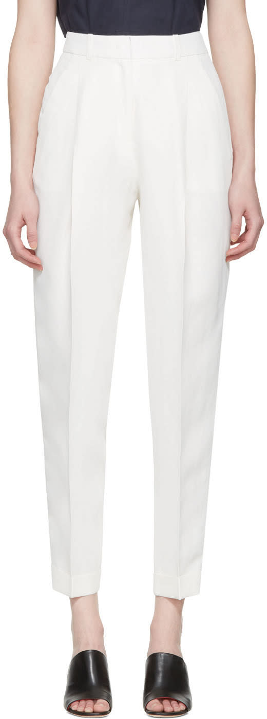 Jil Sander Navy White Woven Trousers
