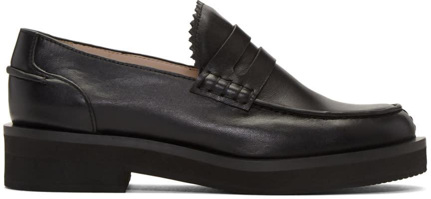 Jil Sander Navy Black Leather Galaxy Loafers