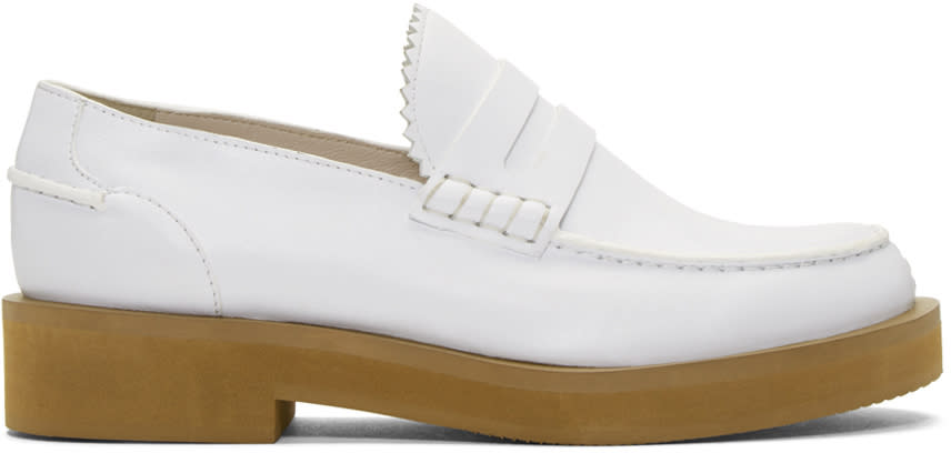 Jil Sander Navy White Leather Galaxy Loafers