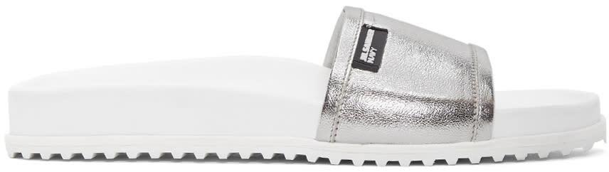 Jil Sander Navy Silver Beach Slide Sandals