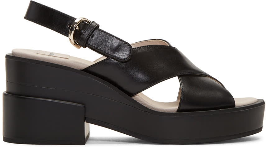 Image of Jil Sander Navy Black Chunky Criss-cross Sandals