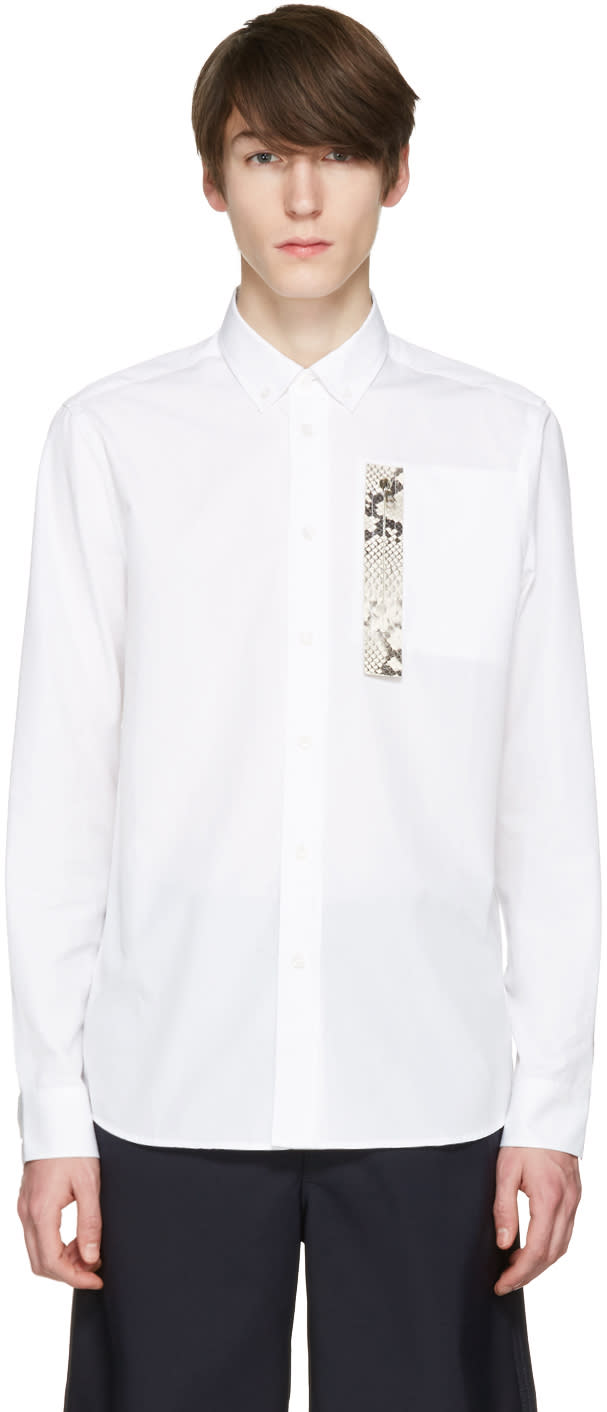 Oamc White Snake Patch Shirt