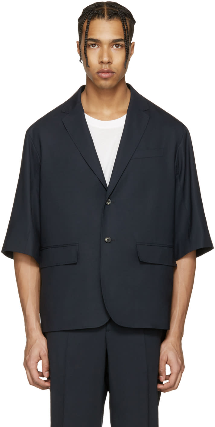 Oamc Navy Tropic 2 Button Blazer