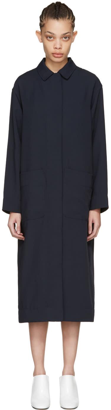 Nomia Navy Slit Back Duster Coat