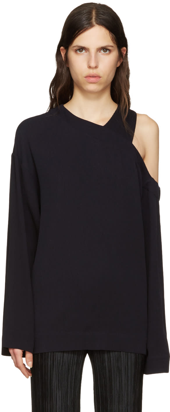 Nomia Navy Cut-out Shoulder Pullover